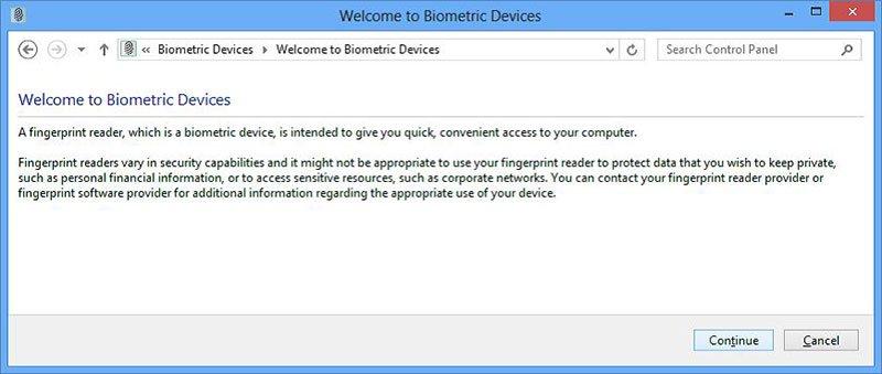 Marco biométrico de Windows